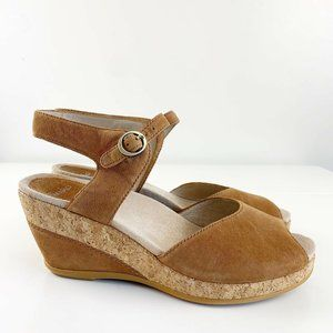 NEW Dansko Charlotte Wedge Sandals Cork Suede